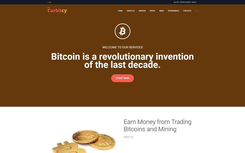 Curbitcy - Bitcoin Landing WordPress Elementor Theme
