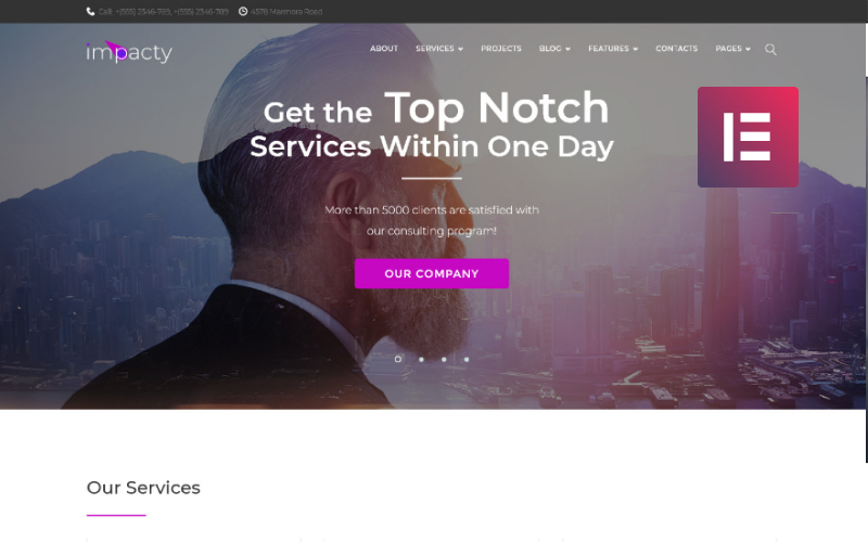 Impacty - Business Consulting WordPress Elementor Theme