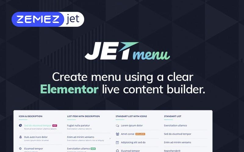 JetMenu - мегаменю для плагина Elementor Page Builder WordPress
