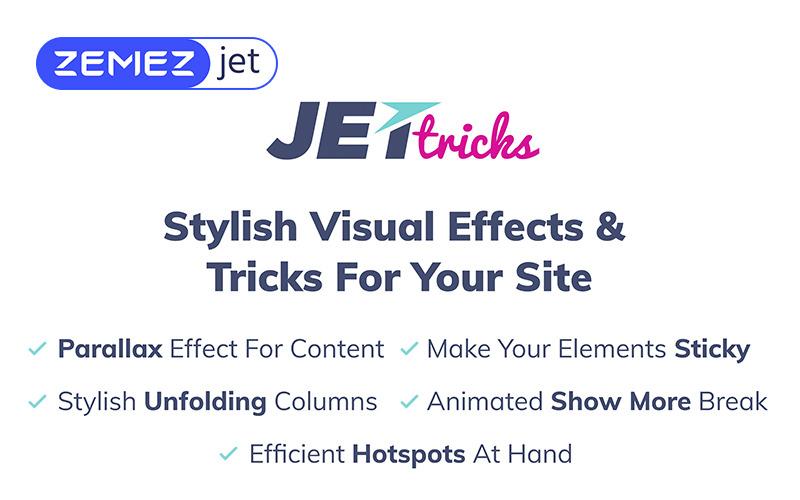 JetTricks - Addon d'effets visuels pour le plugin WordPress Elementor