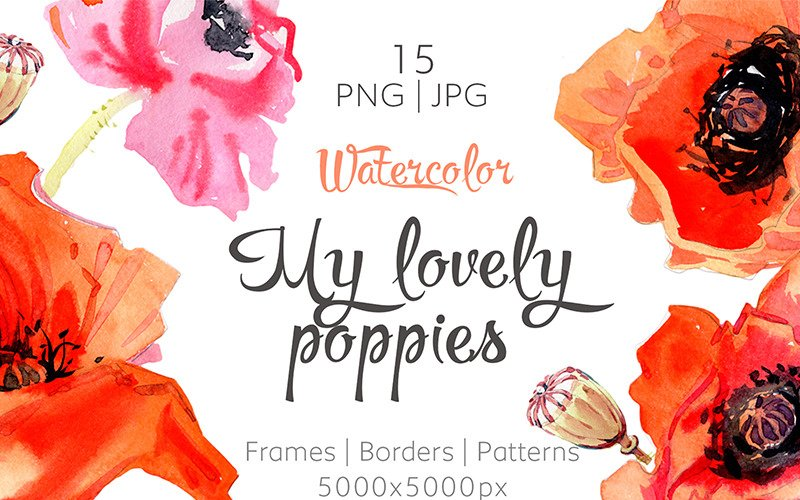 My Lovely Poppies - PNG Watercolor - Illustration
