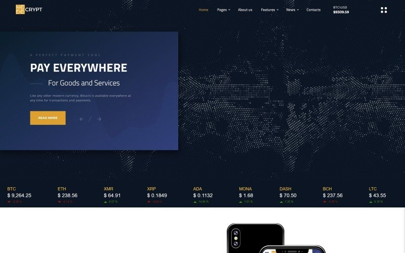Crypt - Cryptocurrency Multipage HTML5 Website Template