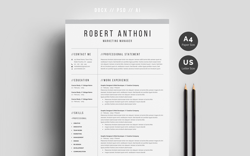 Robert Anthoni清洁简历模板