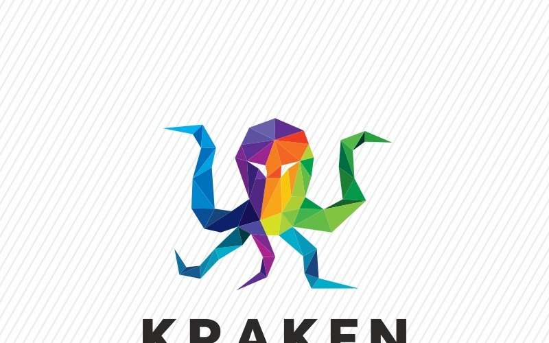 Шаблон красочного логотипа многоугольника Kraken Octopus
