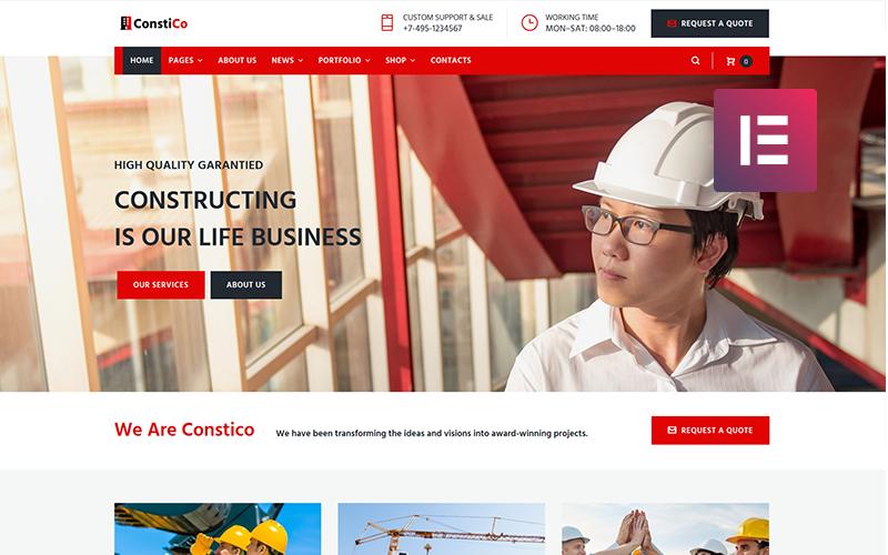Constico - Tema Elementor de WordPress para la construcción