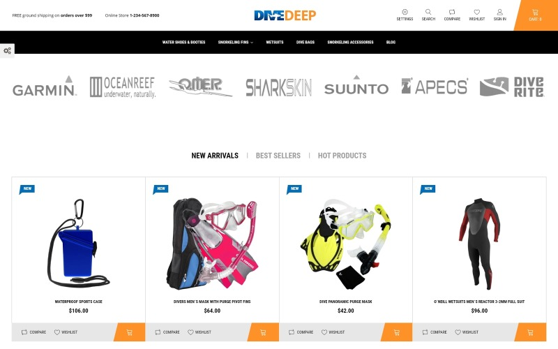 DiveDeep - Snorkeling Equipment PrestaShop Theme
