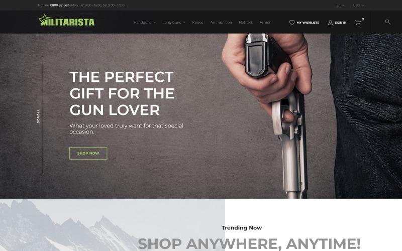 Militarista - Тема PrestaShop для магазина оружия