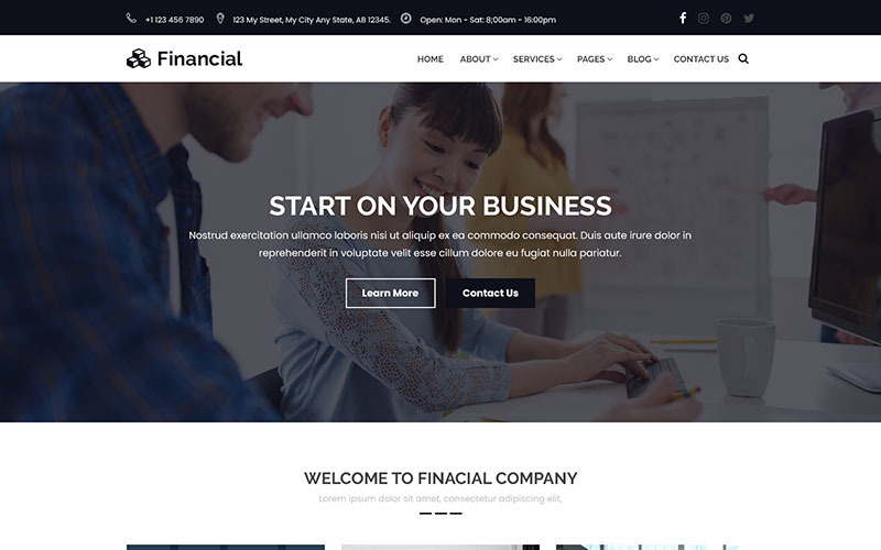 PSD шаблон Финансы - бизнес и финансовый консалтинг