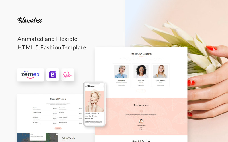Blameless - Nail Salon Multipage HTML5 Szablon strony internetowej