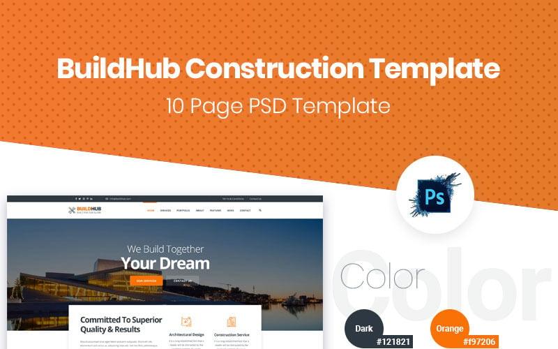 BuildHub Bau, Renovierung, Innenarchitektur Unternehmen PSD Vorlage