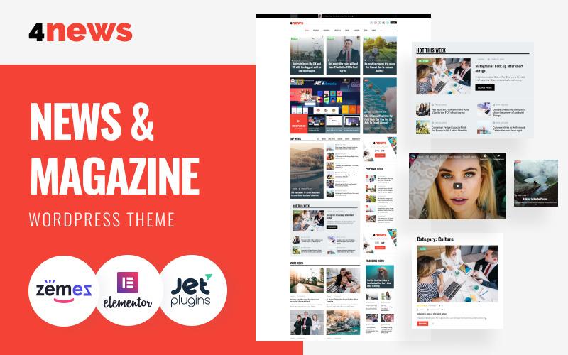 4News - Hírek és folyóiratok WordPress Elementor téma