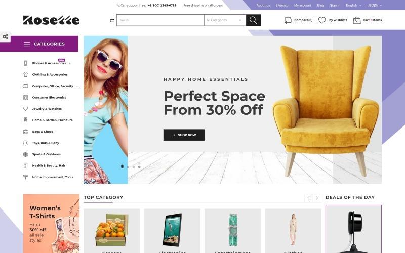 Rosette - Tema de PrestaShop para tienda multicategoría