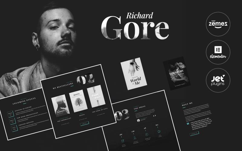 Richard Gore - Elegante plantilla de portafolio de escritor con el tema de WordPress Elementor Builder