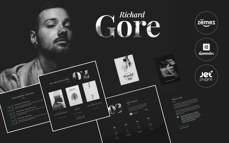 Richard Gore - Modelo de portfólio de escritor elegante com tema WordPress Elementor Builder