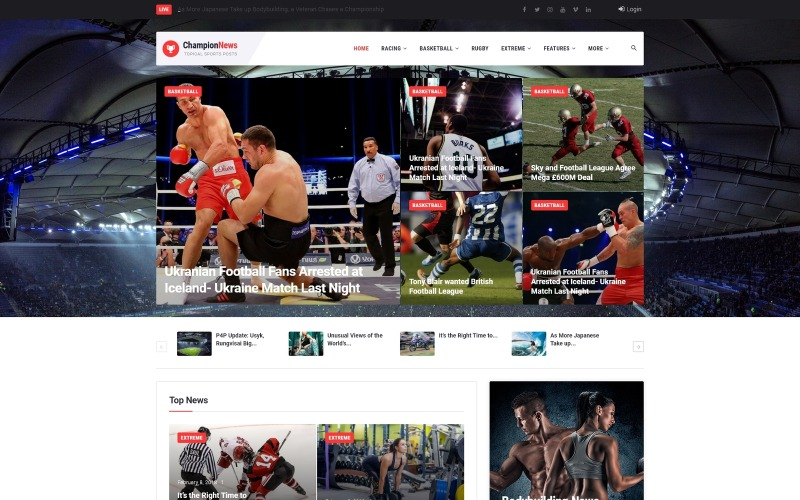ChampionNews - Sports News WordPress Elementor Theme