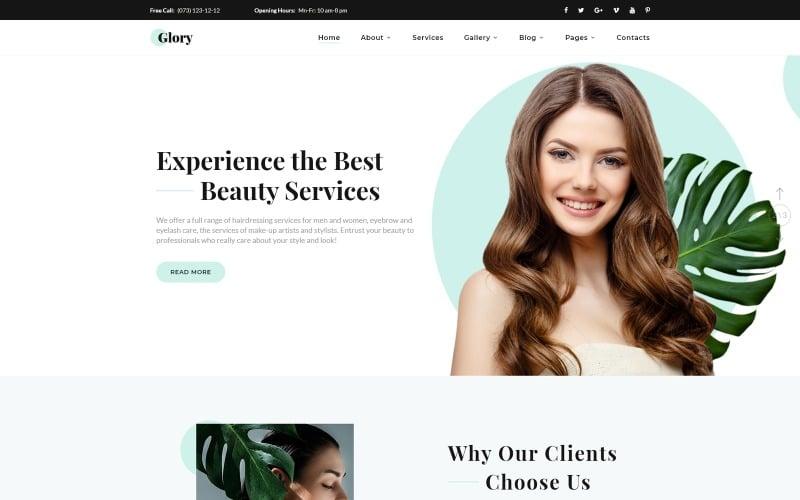 Glory - Divine Beauty Salon Multipage Website Template