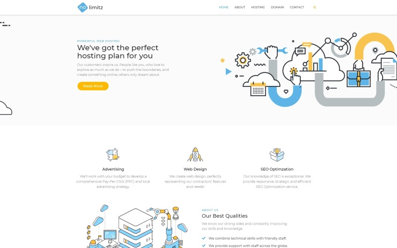 NoLimitz - Hosting WordPress Elementor Theme
