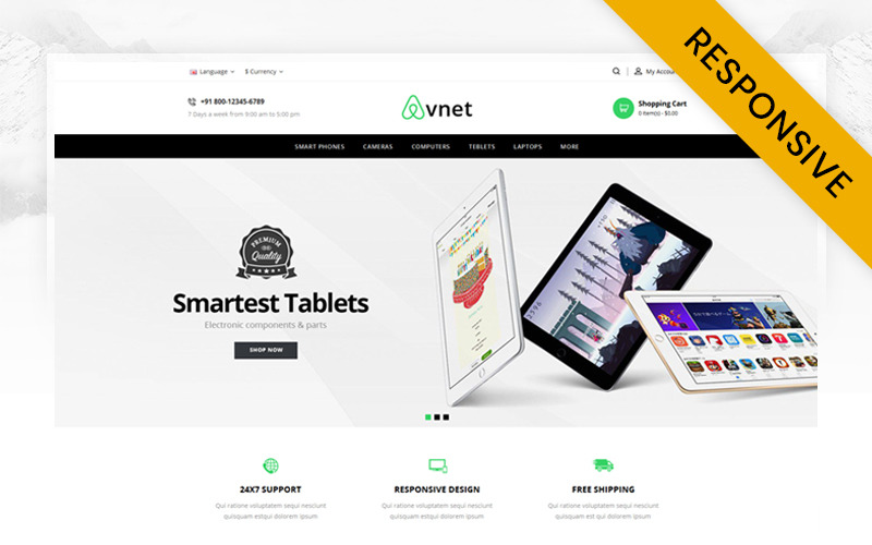Avnet Electronics Store OpenCart Şablonu