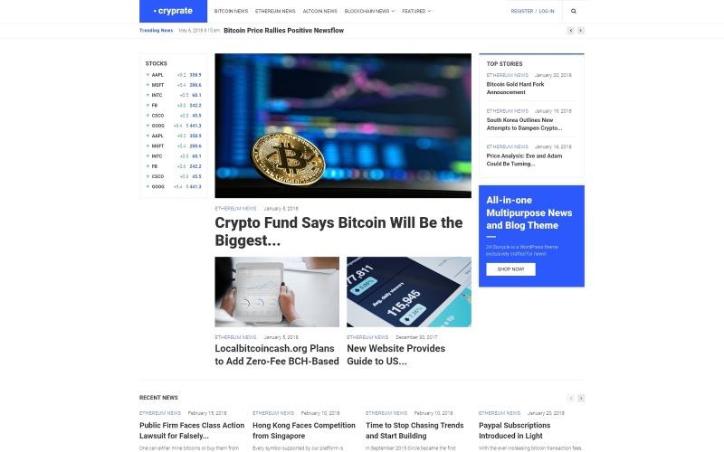 Cryprate - тема WordPress для блога о криптовалюте Elementor