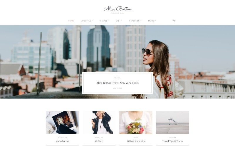 AliceBurton - Personal Blog WordPress Elementor Theme