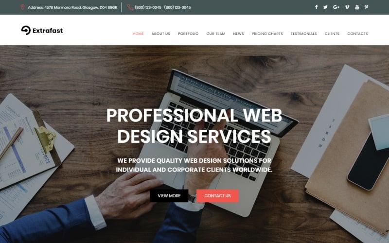 ExtraFast - Web Design Studio HTML5 Landing Page Template