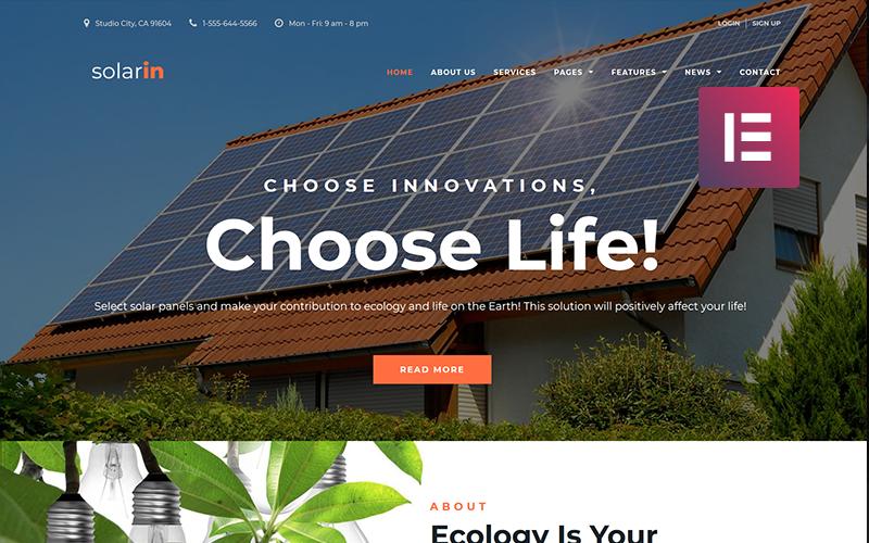 Solarin - Solar Energy Company WordPress Elementor Theme