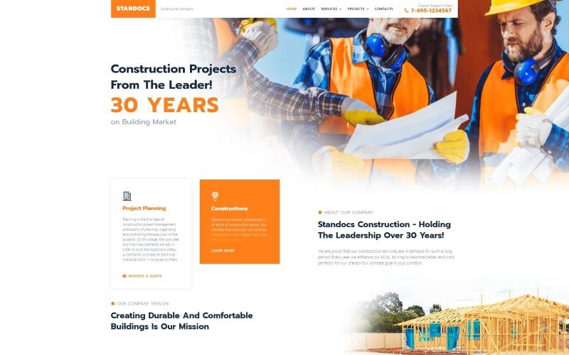Standocs - тема WordPress для строительной компании Elementor