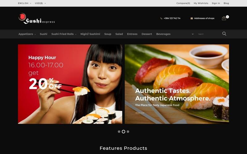SushiExpress - Тема PrestaShop для ресторанного магазина
