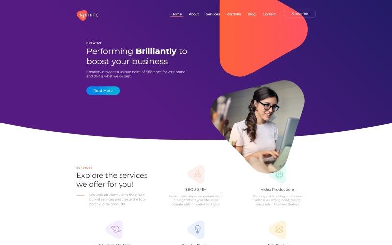 Upmine - тема WordPress Elementor для корпоративного цифрового агентства