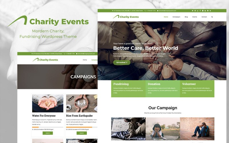 Charity Events - Modern Charity / Fundraising WordPress Theme