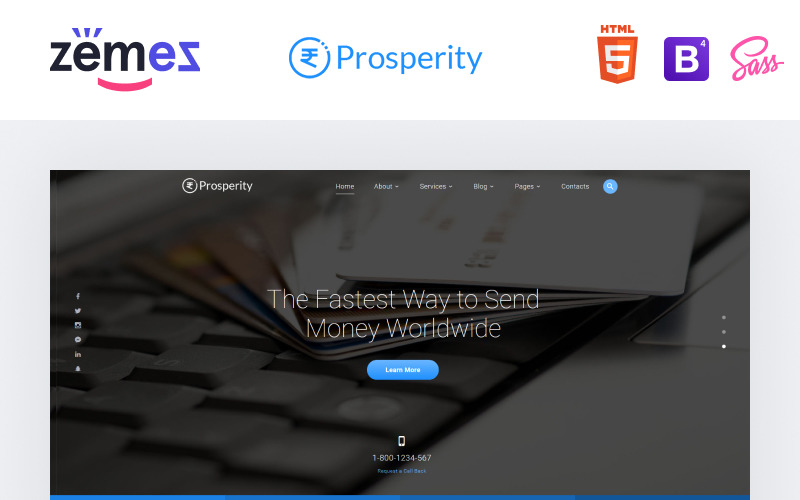 Prosperità - Modello di sito Web HTML5 multipagina bancario