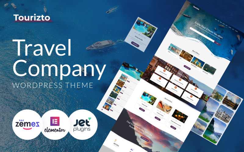 Tourizto - Travel Company WordPress Elementor téma