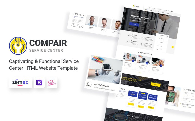 Compair - Service Center HTML5-websitesjabloon met meerdere pagina's