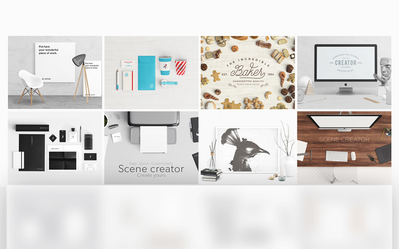 Maqueta de producto del paquete Scene Creator