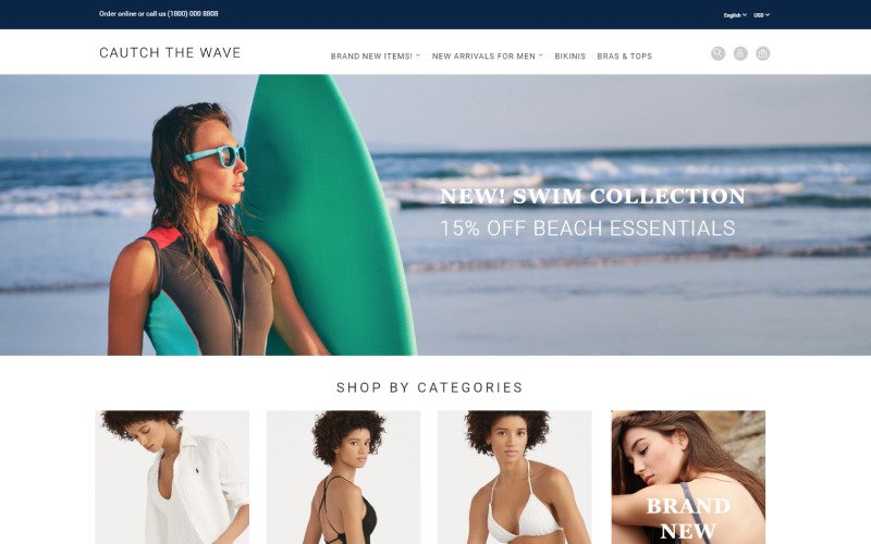 Catch the Wave - Swimwear Responsive OpenCart Template