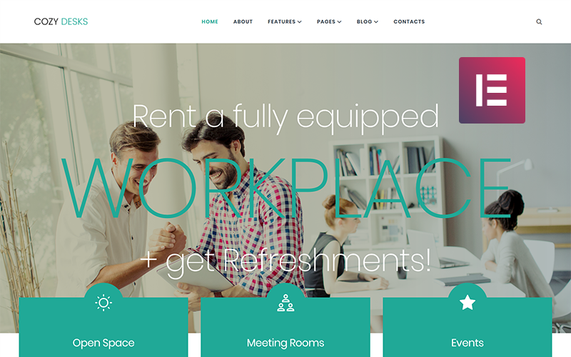 Cozy Desks - Coworking WordPress Elementor Theme