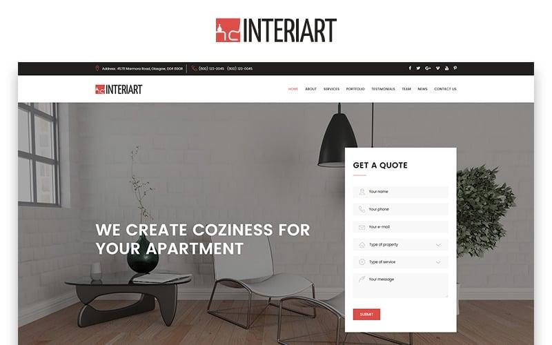 Interiart - HTML-шаблон целевой страницы для дизайна интерьера