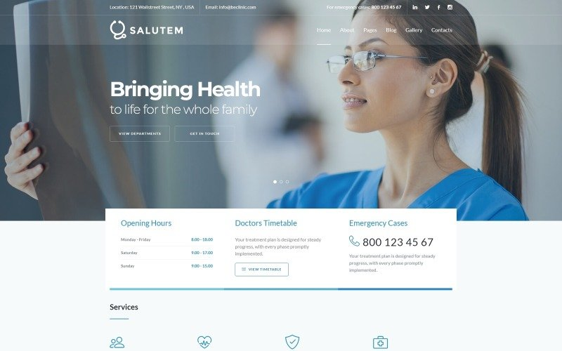 Salutem - Medizin und Gesundheitswesen Clean Joomla Vorlage