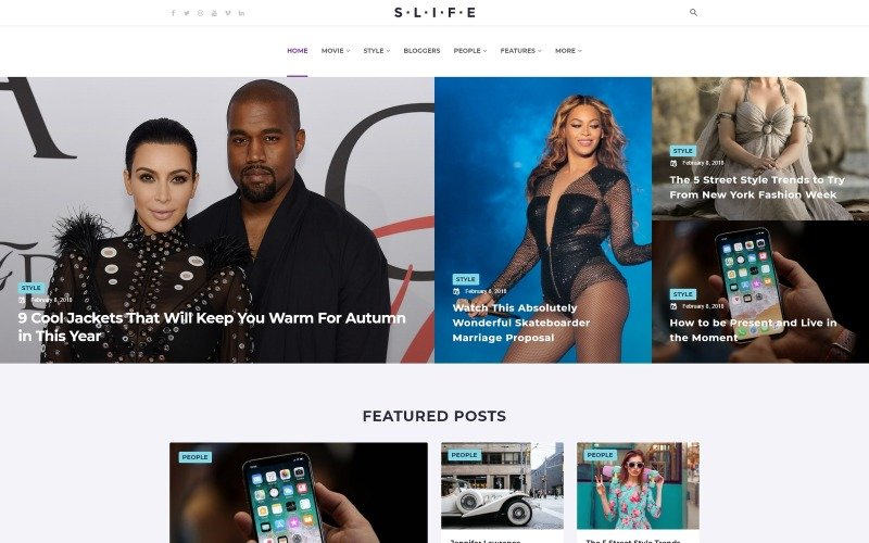 Slife - Tema WordPress Elementor de estilo de vida
