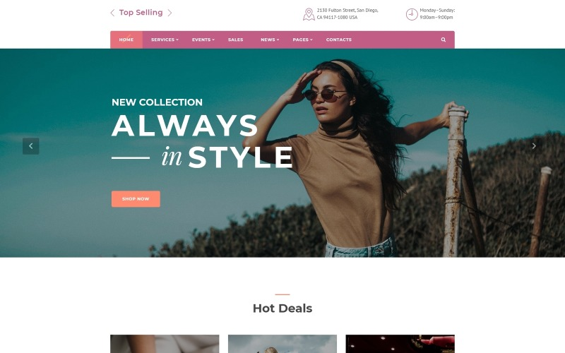 Más vendido: plantilla de sitio web HTML5 multipágina de tienda de moda