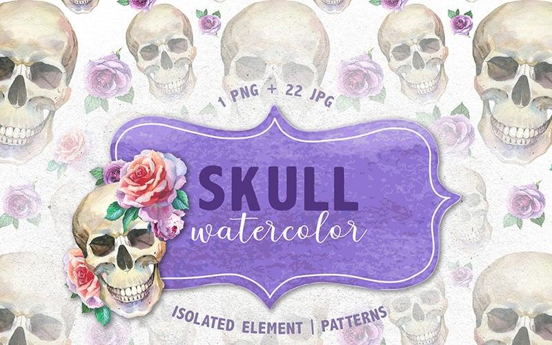 Cool Skull Print PNG Watercolor Creative Set - Illustration