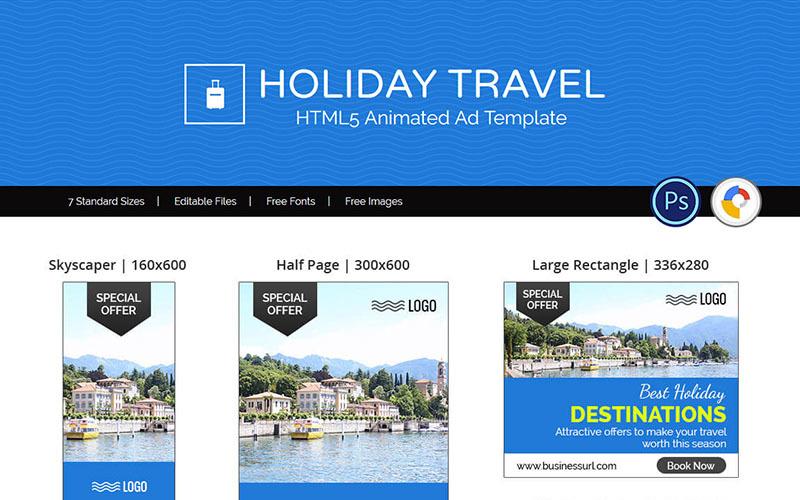 Tour y viajes | Banner de viajes de vacaciones Plantillas de anuncios Banner animado