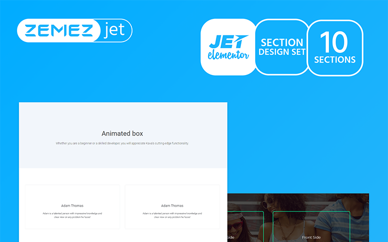 Vividy - шаблон элемента анимированного окна Jet Sections