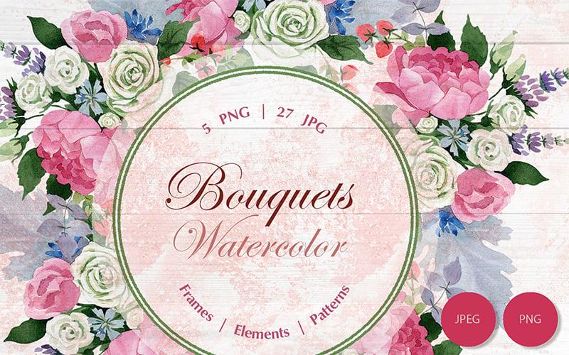 Wedding Watercolor Bouquets PNG Set - Illustration