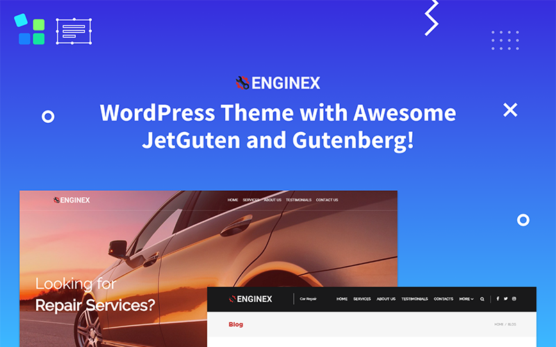 Enginex - тема WordPress для ремонта автомобилей Gutenberg