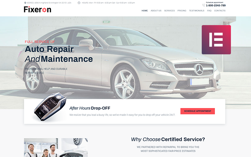 Fixeron - Car Repair WordPress Elementor Theme