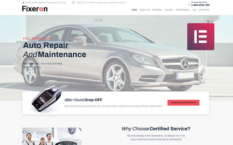 Fixeron - тема WordPress для ремонта автомобилей Elementor