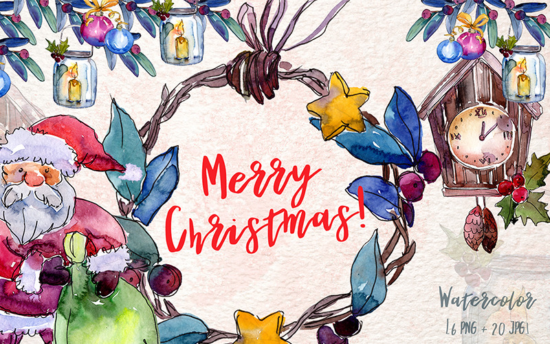 Frohe Weihnachten Holiday PNG Aquarell Set - Illustration
