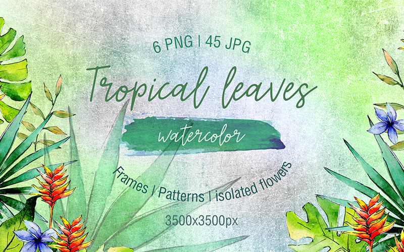 Green Tropical Leaves Png Watercolor Set Illustration 71877 Summer inspiration quotes lettering phrases with tropical leaves. green tropical leaves png watercolor set illustration