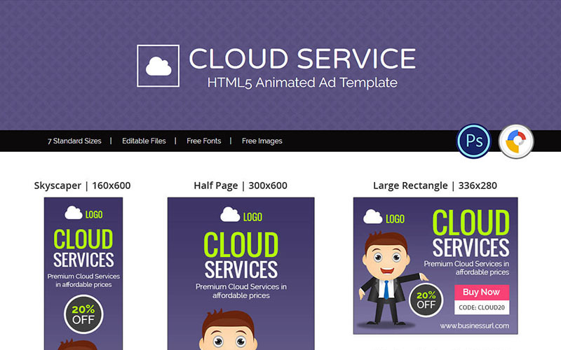 Professional Services | Cloud Service / Hosting Banner Ad Animated Banner